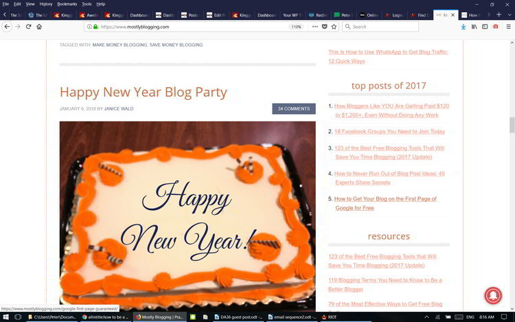 Mostly Blogging No5 Guest post for 2017