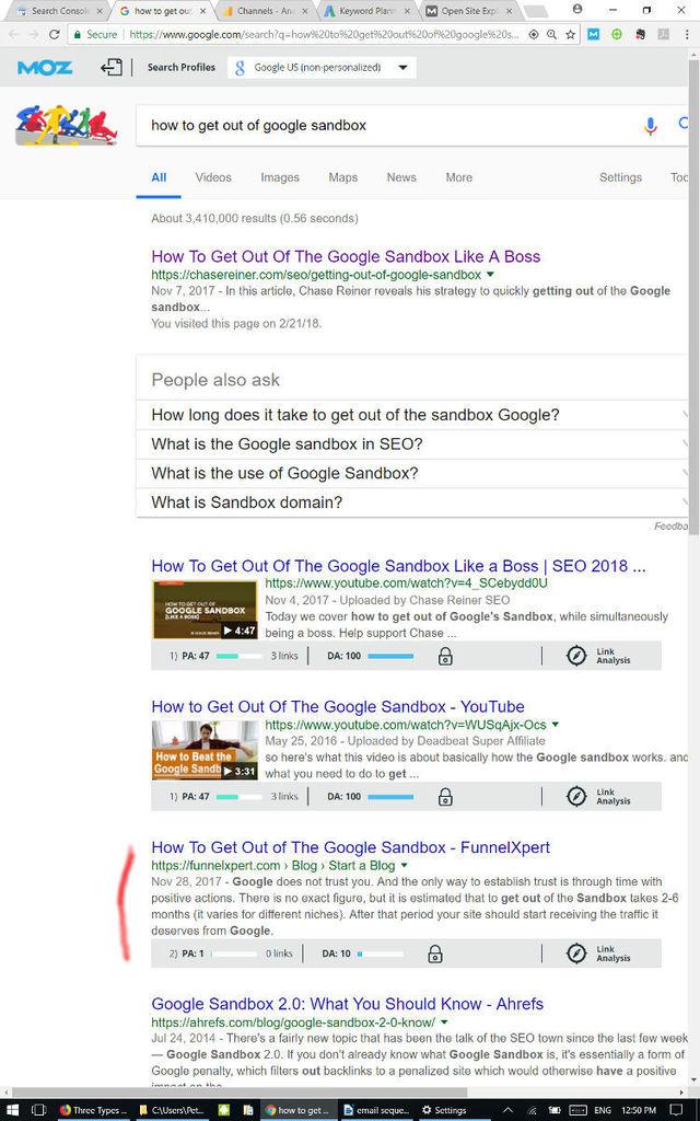 Google Sandbox first page
