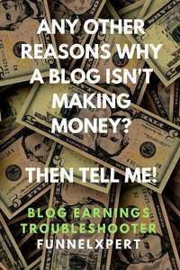 Any other reasons why a blog not making money? Blog Earnings Troubleshooter