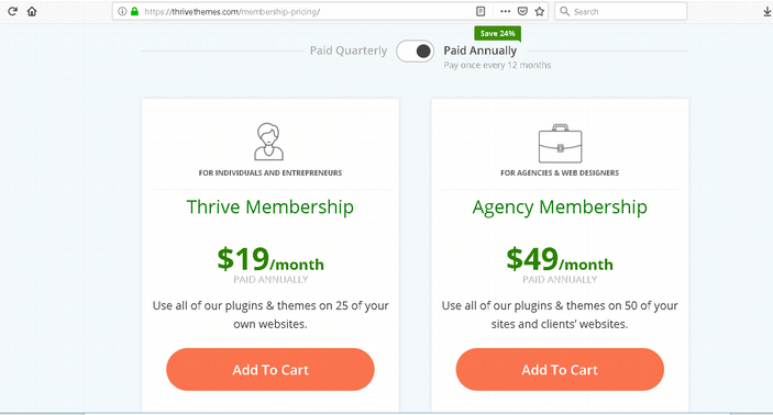 Thrive Themes Membership Pricing