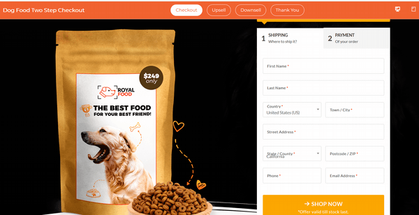 dog food funnel checkout