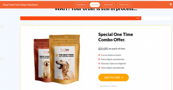 dog food funnel upsell