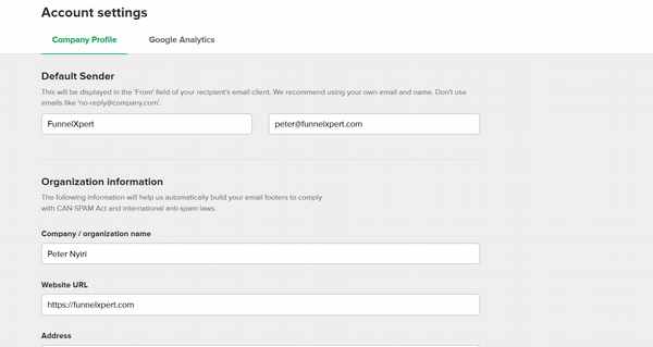 MailerLite02 default sender