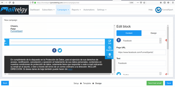 Mailrelay13 create email social block