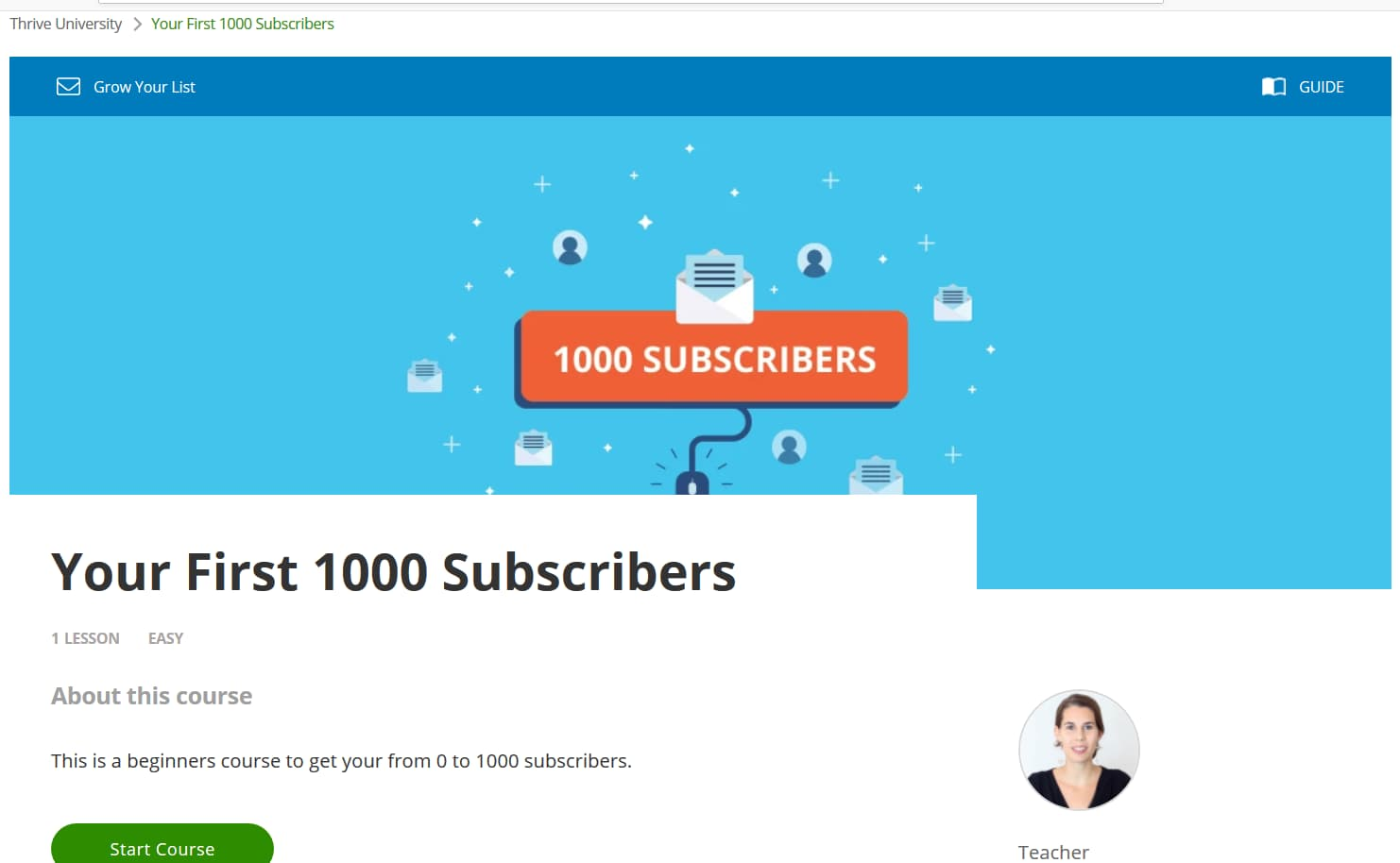 Your First 1000 Subscribers course