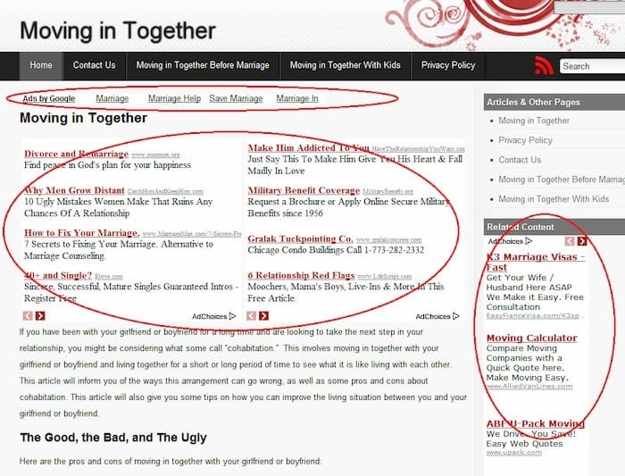moving in site ad screenshot