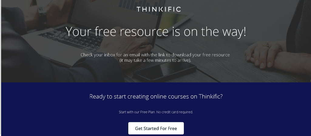 Thinkific thank you page