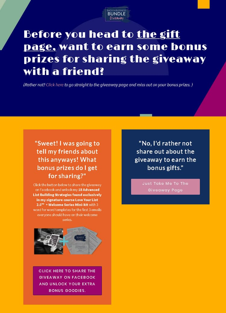 giveaway funnel share page