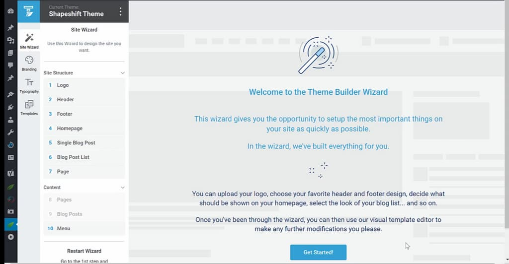 theme builder setup wizard