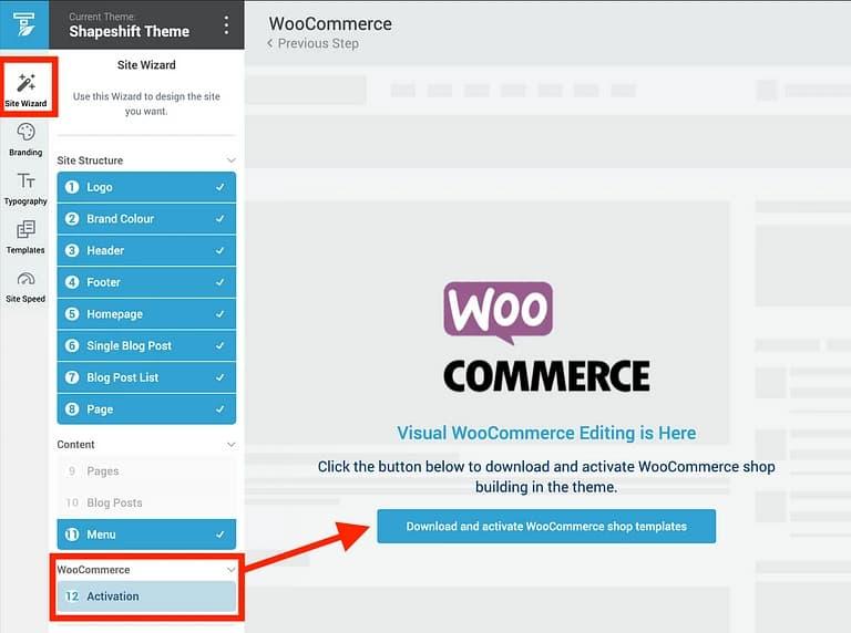 Thrive Theme builder WooCommerce Wizard