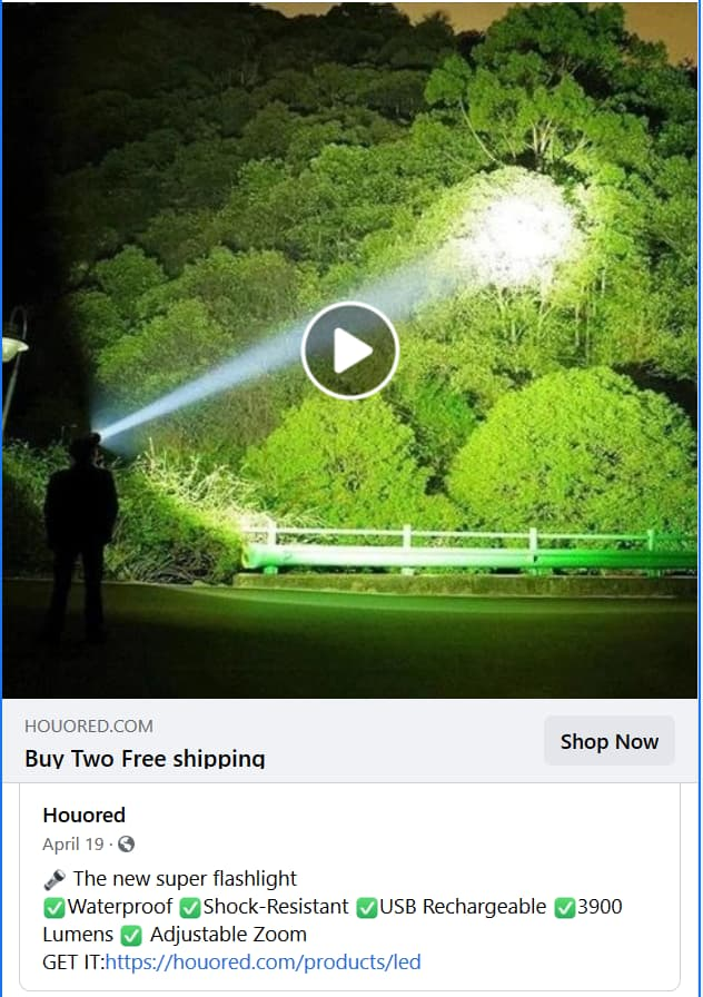 flashlight FB video ad