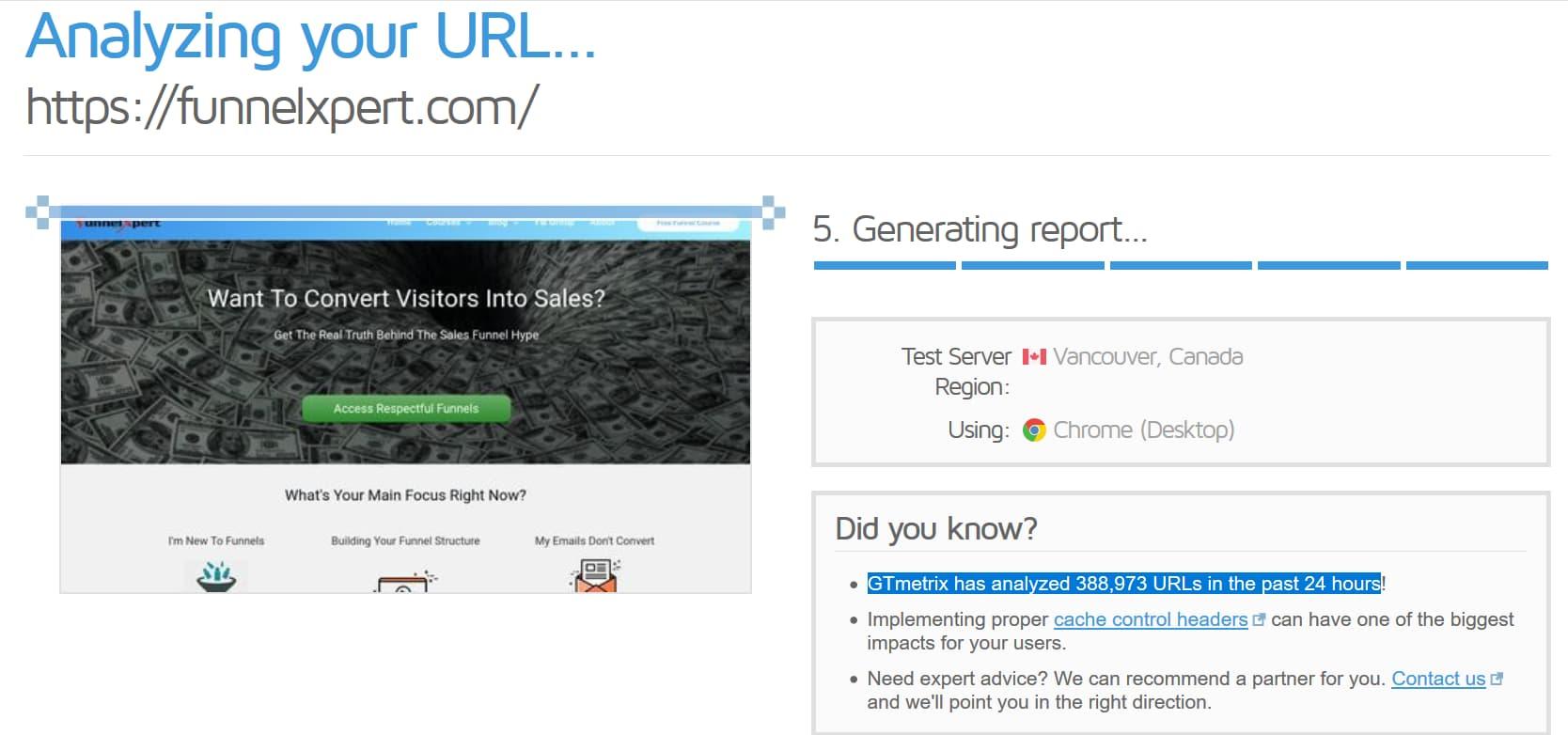 GTMetrix number of URLs analyzed