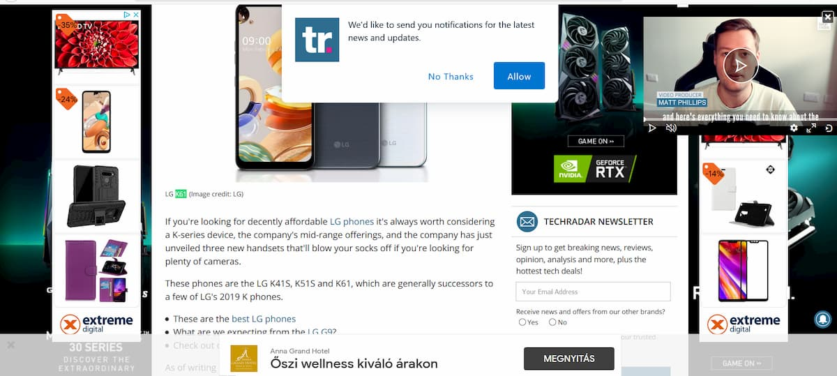techradar loaded with ads